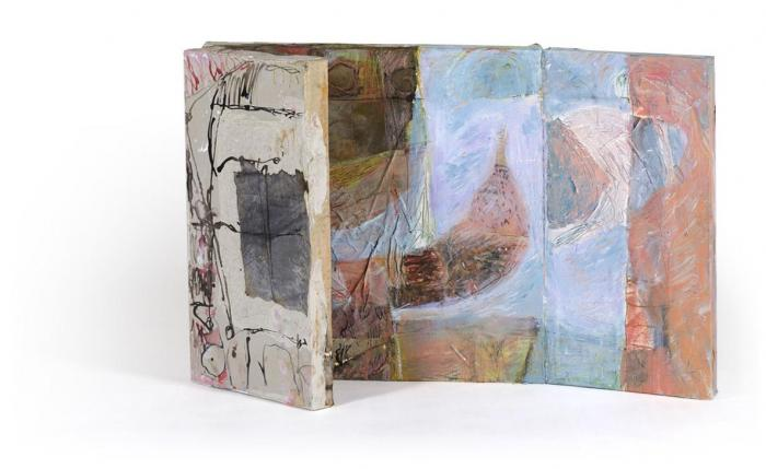 The Meadow II, 2013, Oil, Ink, Collage on Canvas Box, 50x50x4 closed, 50x100x4cm open