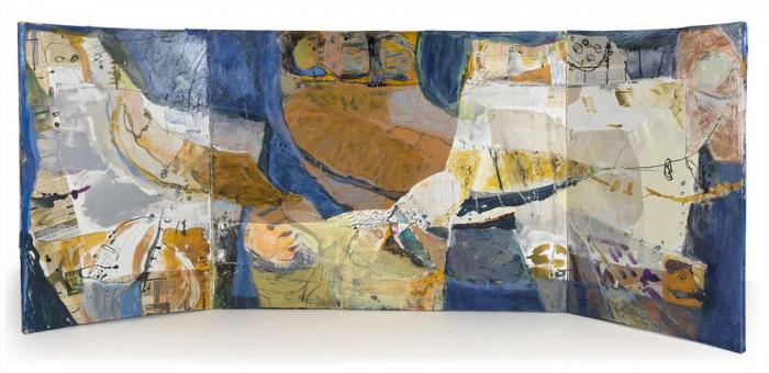 Roasted Chestnuts and Persimmons, 2005, Ink, Oil, Collage on Canvas Box, 120x160x4cm closed, 120x320x4cm opened