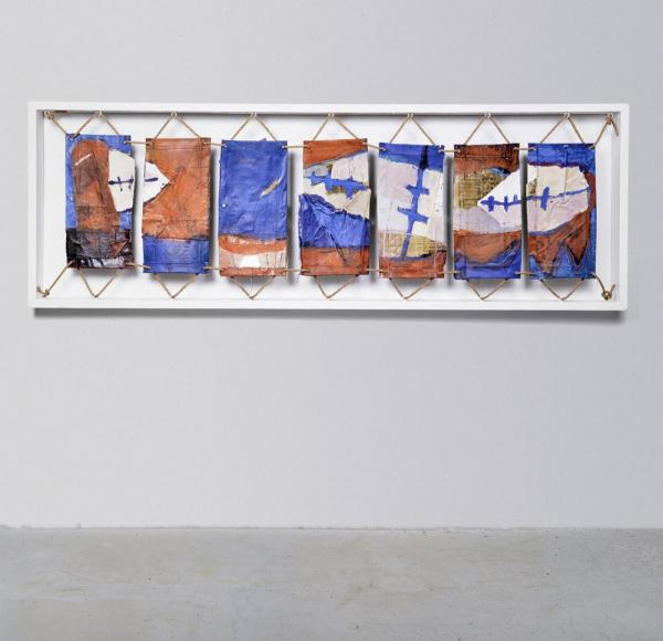 Margaret Kelley: Crossing Boundaries, 1991, Acrylic+Collage on Canvas, 120x250cm