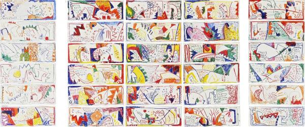 Margaret Kelley: Pages from a Diary II, 1985, Crayon on Paper, 120x200cm