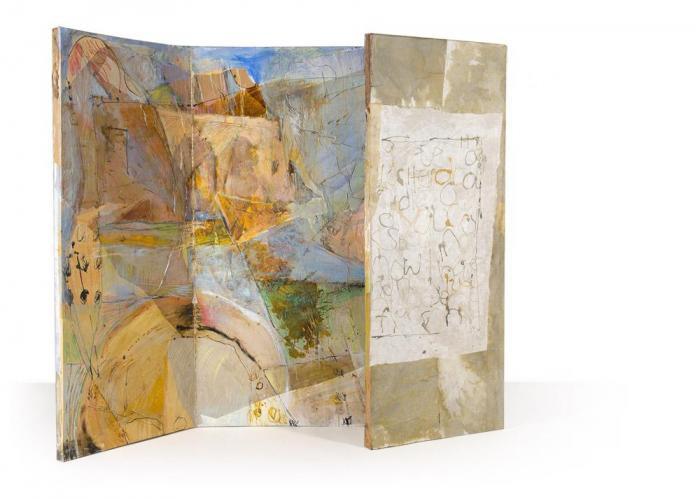 Leaves of Morning, 2012, Oil,Ink,Collage on Canvas Box, 150x120cm closed,150x240x4cm opened