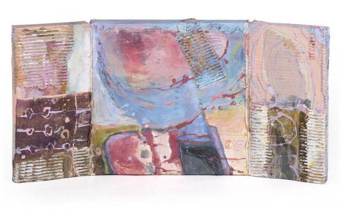The Meadow III, 2013, Oil, Ink, Collage on Canvas Box, 40x40x4closed, 40x80x4cm opened