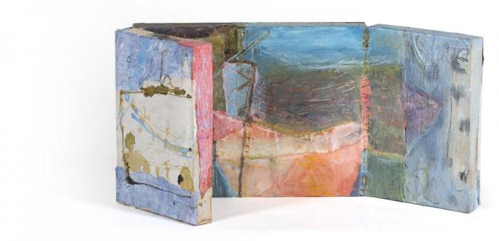 Out of the Shadow VI, 2012, Oil, Ink, Collage on Canvas Box, 30 x 40 closed,30x80x4cm opened