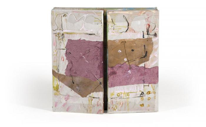 The Meadow I, 2013, Oil, Ink, Collage on Canvas Box, 50x50x4 cm closed, 50x100x4cm open