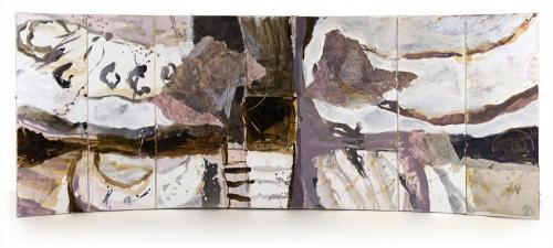 The Embrace I, 2007-2012, Ink, Oil, Sand, Collage on Canvas Box, 120x230x4cm closed, 120 x310cm opened